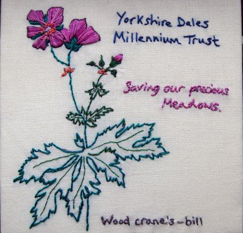 Wood crane's-bill embroidery patch