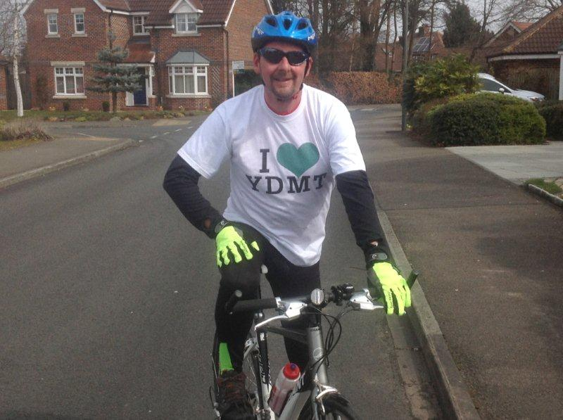 David Shaw, YDMT trustee, trains for the Way of the Roses bike ride to raise money for the Hay Time appeal