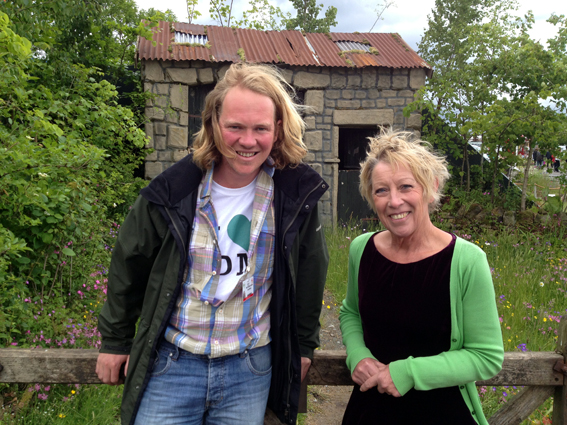 Chris Myers and BBC's Carol Klein in front of the Hay Time garden