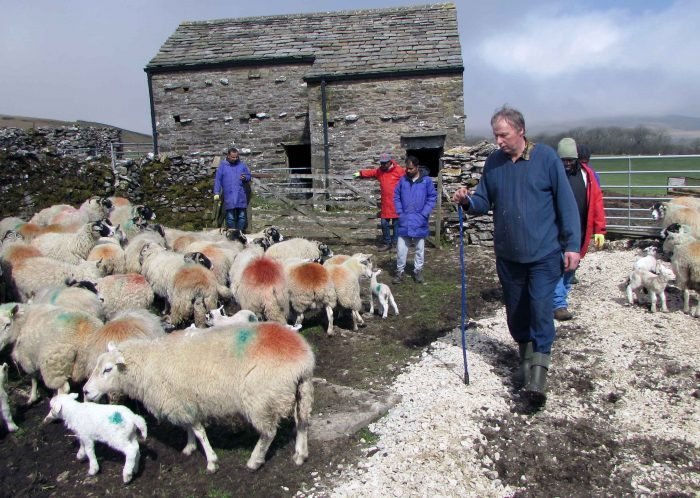 Farmer Rodney Beresford welcomes a refugee group to his farm in Ingleborough