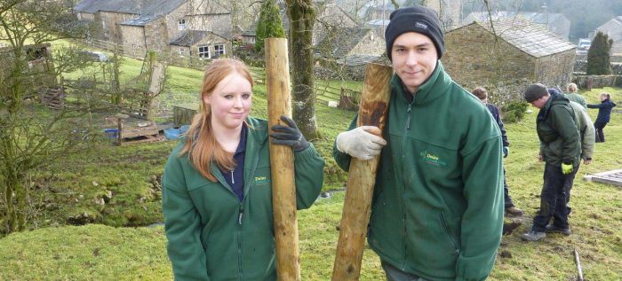 James and fellow apprentice Becky fencing
